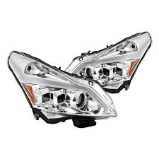 Infiniti G37 Sedan 2010-2013/2011-2012 G25/2015 Q40 LED Stripe Projector Headlights w/Sequential Turn Signal- Chrome