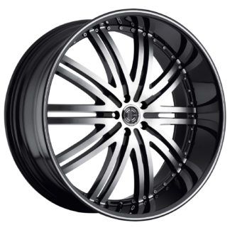 2Crave No. 11 Glossy Black / Machined Face / Machine Stripe Custom Wheel