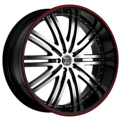 2Crave No. 11 Fiero Machined Face Red Pin Stripe Custom Wheel