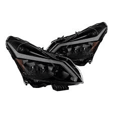 Infiniti G35 Sedan 07-08 / G37 Sedan 2009 ( Only Fit Xenon HID Type Headlight Without Technology Package ) DRL Light Bar Projector Headlights w/Sequential Turn Signal – Black Smoked
