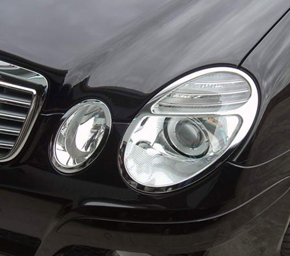 ABS Chrome Head Light Bezel 4-Pc 2007 - 2009 Mercedes-Benz E-Class-W211