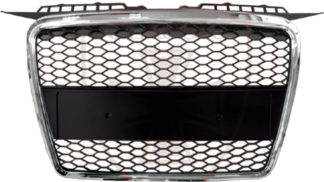 72R-AUA306RS-CB ABS Replacement Main Grille RS-Type Chrome Frame Matte Black Honeycomb Mesh