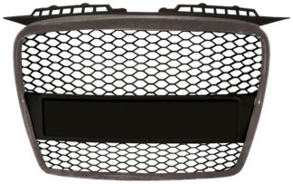 72R-AUA306RS-SB ABS Replacement Main Grille RS-Type Silver Frame Matte Black Honeycomb Mesh