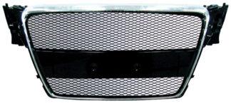 72R-AUA409AM-CB ABS Replacement Main Grille Chrome Frame Black Aluminum Mesh