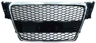 72R-AUA409RS-CB ABS Replacement Main Grille RS-Type Chrome Frame Matte Black Honeycomb Mesh