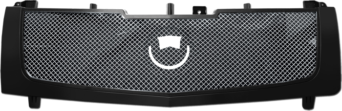 72R-CAESC02-GME-BK Glossy Black ABS Frame/Polished Center Fine Stainless Steel Mesh Replacement Grille