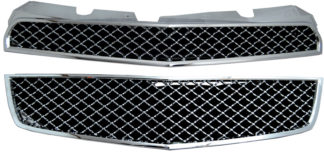 72R-CHEQU10-GME ABS Chrome Bentley Mesh Style Replacement Grille 2Pc