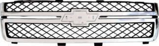 72R-CHSIL11HD-POE-CG HD OE Style Replacement Main Grille Chrome Frame Molding with Emblem Recess (Emblem not included)  & Matte Dark Gray 20966058