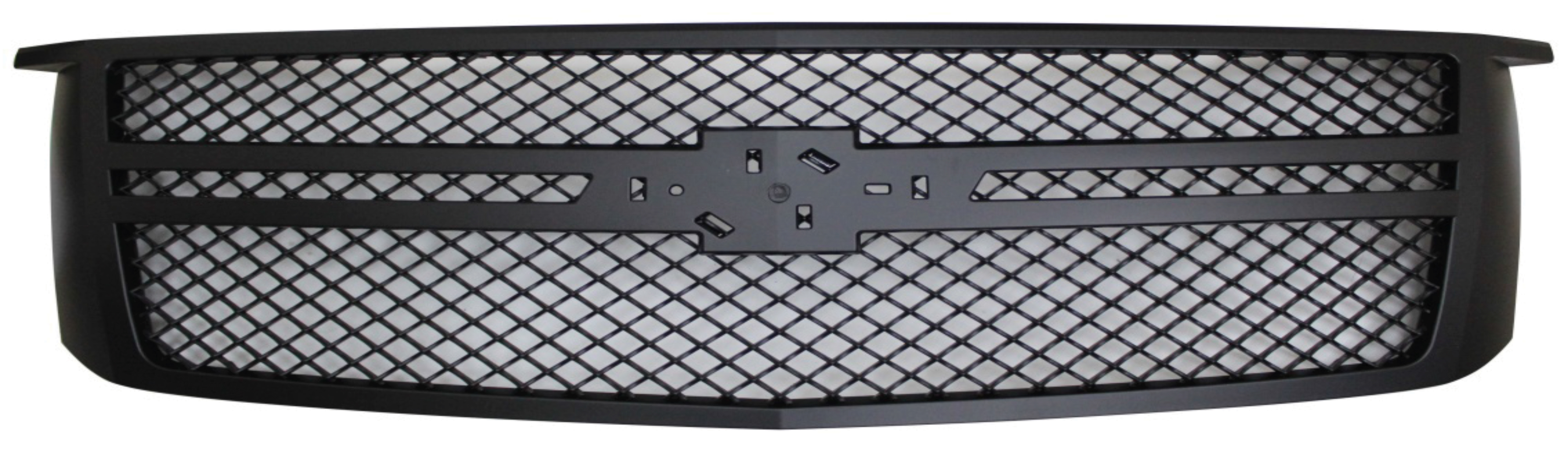 72R-CHTAH15-GM2-BK ABS Matte Black Performance Replacement Bently Mesh Style Grille with Parallel Molding and Emblem Base