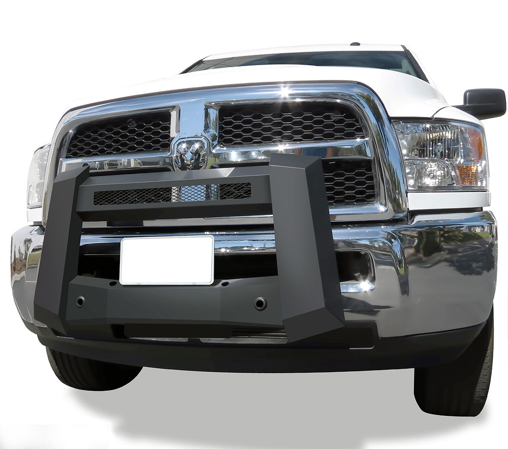 Modular Bull Bar - Black Carbon Steel - 2010-2018 Ram 3500 With/ Without Parking Sensor