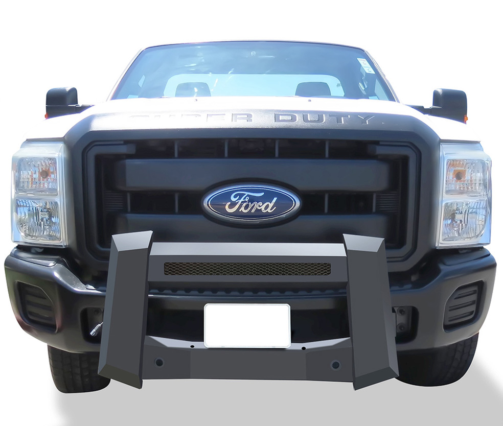 Modular Bull Bar - Black Carbon Steel - 2011-2016 Ford F-550 SD Not for Models w/Parking Sensor