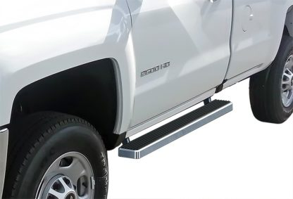 iStep 4 Inch Running Boards 2007-2018 Chevy/GMC Silverado/Sierra 1500 Regular Cab 2007-2018 2500/3500 Regular Cab (Incl. Diesel models with DEF tanks)