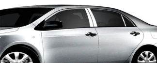 Mirror Finish Stainless Steel Pillar Post 6-Pc 2009 - 2013 Toyota Corolla