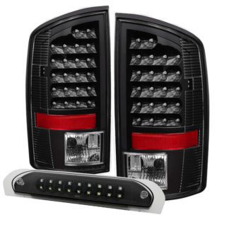 ALT-JH-DR07-LED-SET-BKDodge Ram 07-08 1500 / Ram 07-09 2500/3500 LED Tail Lights with LED 3rd Brake Lamps- Black