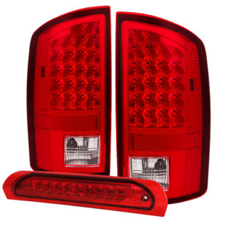 ALT-JH-DR07-LED-SET-RCDodge Ram 07-08 1500 / Ram 07-09 2500/3500 LED Tail Lights with LED 3rd Brake Lamps- Red Clear