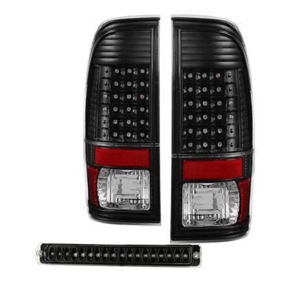 ALT-JH-FF15097-LED-SET-BKFord F150 Styleside 97-03 LED Tail Lights With LED 3rd Brake Light- Black