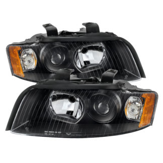 ( OE ) Audi A4 02-05 (Halogen Only  Does not fit HID models  also does not fit cabriolet convertible model) Crystal Headlights - Black