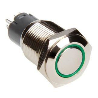 LED Two Position On/Off Switch (Green) - RS-2P16MM-LEDG