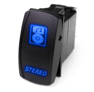 Race Sport® LED Rocker Switch with BLUE LED Radiance - Stereo - RSLS23B