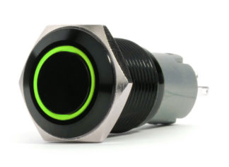 LED Switch; 19mm Black  2-Position On/Off Switch (GREEN) - Black Flush Mount 12V - RS-B19MM-LEDG