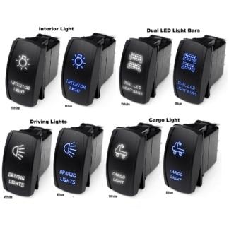 LED Rocker Switches Blue - White Radiance