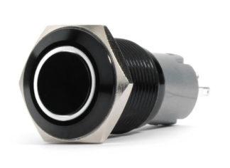 LED Switch; 19mm Black  2-Position On/Off Switch (White) - Black Flush Mount 12V - RS-B19MM-LEDW