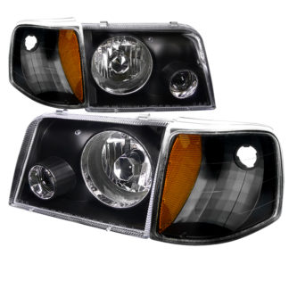 93-97 Ford Ranger Combo Projector HeadLight Black With Corner Light
