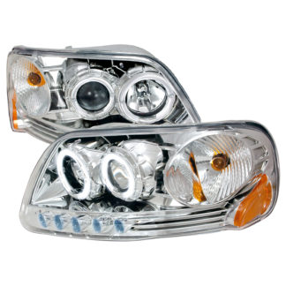 97-03 Ford F150 Halo Projector HeadLights Chrome