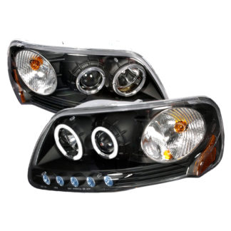 97-03 Ford F150 Halo Projector HeadLights Black