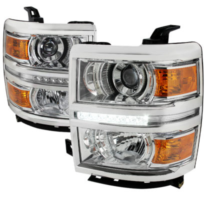 14-16 Chevrolet Silverado Chrome Projector HeadLights With LED