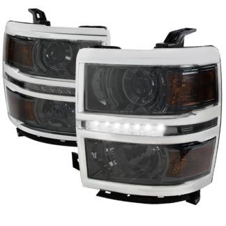 14-16 Chevrolet Silverado Smoked Projector HeadLights With LED