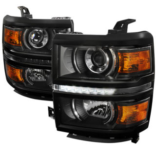 14-16 Chevrolet Silverado Black Projector HeadLights With LED