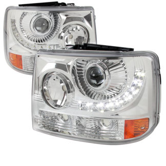 99-02 Chevrolet Silverado 1 PC Projector HeadLight - Chrome With LED (Only Fits With Spec-D Vertical Facelift Conversion Grille)