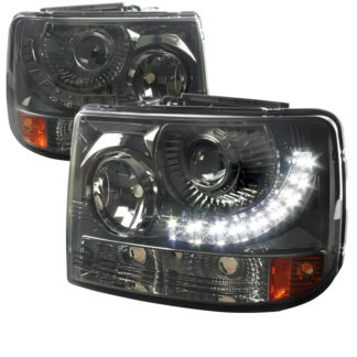 99-02 Chevrolet Silverado 1 PC Projector HeadLight - Smoked With LED (Only Fits With Spec-D Vertical Facelift Conversion Grille)