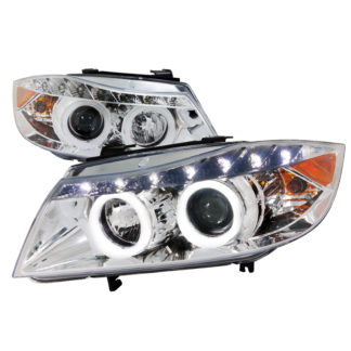 05-08 BMW 3 Series SMD LED Iced Halo Projector HeadLight Chrome Housing