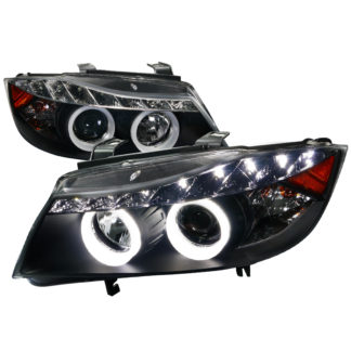05-08 BMW 3 Series SMD LED Iced Halo Projector HeadLight Black Housing