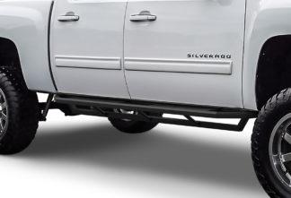 Truck Side Armor - 2 Inch Black Square Tube Style - 2001-2007 Chevy Silverado 3500