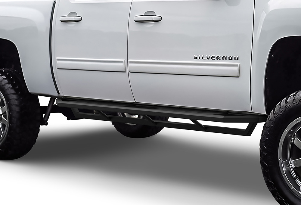 Chevy Silverado Side Steps >> Truck Armor Side Steps 2 Inch Black Square Tube Style 2001 2007 Chevy Silverado 1500 Crew Cab Excl C K Classic S S Models