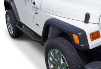 Jeep Side Armor - 2 Inch Black Square Tube Style - 1987-2006 Jeep Wrangler