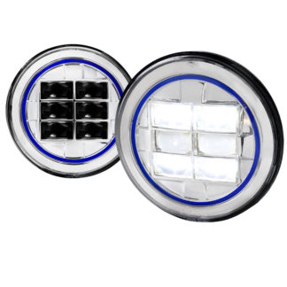 Universal Universal Universal Combo: 2x 7 Inch Round Projector HeadLight - Chrome (Blue)