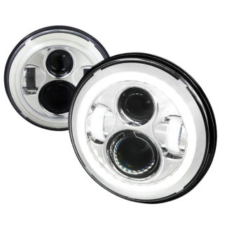 Universal Universal Universal 7 Inch Round Projector HeadLights With Halo - Chrome