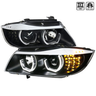 09-12 BMW 3 Series Projector HeadLights - Black With Halo Facelift Style