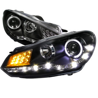 09-10 Volkswagen Golf Projector HeadLight R8 Style Black Housing With LED Signal