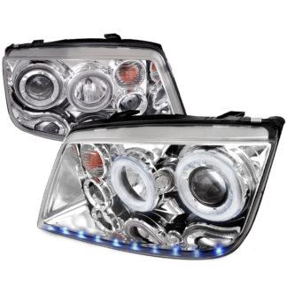 99-04 Volkswagen Jetta LED STRIPE DUAL Halo Projector HeadLights Chrome
