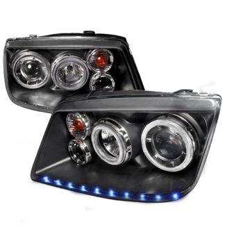 99-04 Volkswagen Jetta LED STRIPE DUAL Halo Projector HeadLights Black