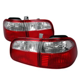 99-00 Honda Civic Tail Lights Red Clear 4Dr