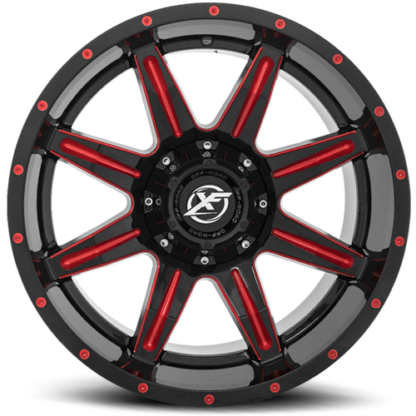 Gloss Black w/Red Mill are rugged with unique styling. Sizes vary from 17 to 26 Inch with various widths that fit all 4 x 4 lifted trucks. Available for shipping with wheel and tire packages including lug and lock installation kits. Call 888.400.3957 for expert wheel and tire advice.