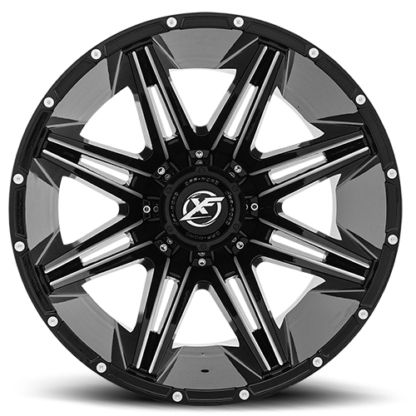 Gloss Black Milled are rugged with unique styling. Sizes vary from 17 to 26 Inch with various widths that fit all 4 x 4 lifted trucks. Available for shipping with wheel and tire packages including lug and lock installation kits. Call 888.400.3957 for expert wheel and tire advice.