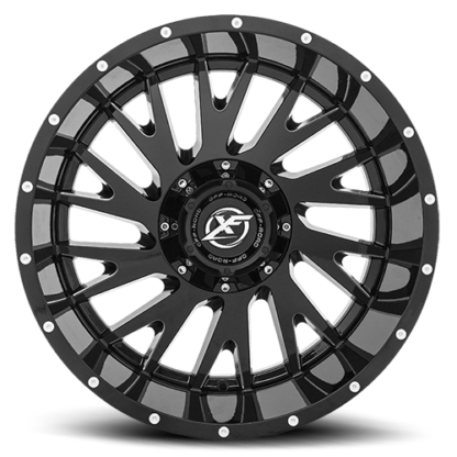 Gloss Black Milledare rugged with unique styling. Sizes vary from 17 to 26 Inch with various widths that fit all 4 x 4 lifted trucks. Available for shipping with wheel and tire packages including lug and lock installation kits. Call 888.400.3957 for expert wheel and tire advice.
