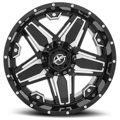 Gloss Black Machinedare rugged with unique styling. Sizes vary from 17 to 26 Inch with various widths that fit all 4 x 4 lifted trucks. Available for shipping with wheel and tire packages including lug and lock installation kits. Call 888.400.3957 for expert wheel and tire advice.